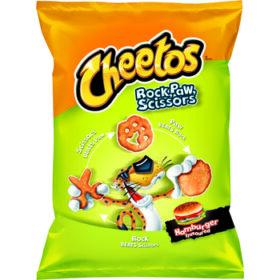 Cheetos Rock, Paw, Scissors Hamburger Flavored